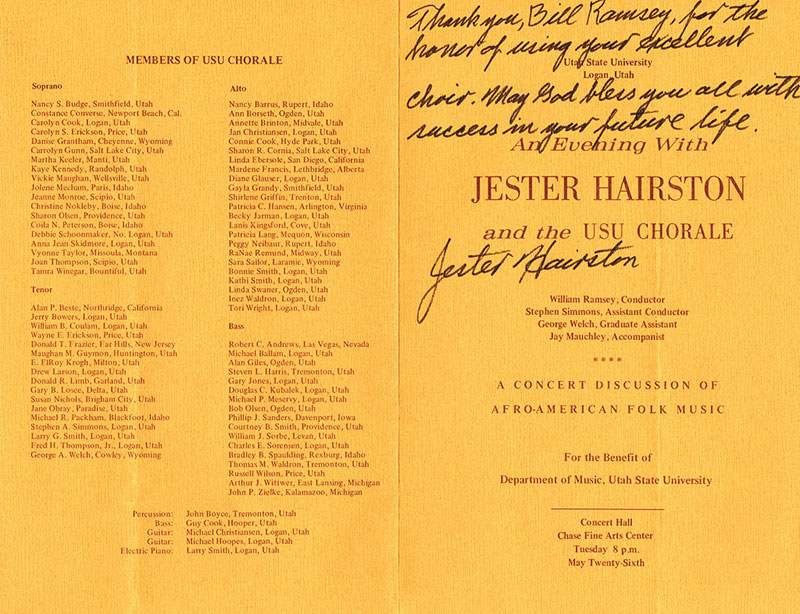 Jester Hairston Program 1