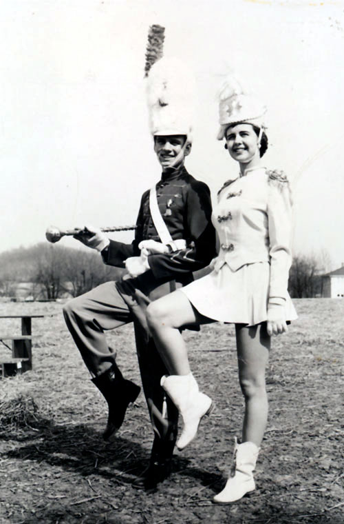 Bill as Drum Major with Judy Ruffner